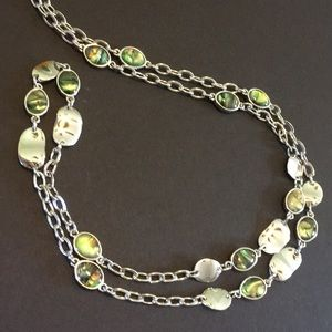 Lia Sophia Long silver and abalone necklace
